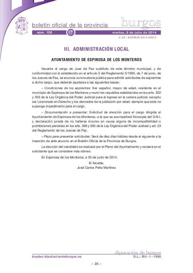boletín oficial de la provincia – 25 – C.V.E.: BOPBUR-2014-04912 núm. 126 martes, 8 de julio de 2014e diputación de burgos...