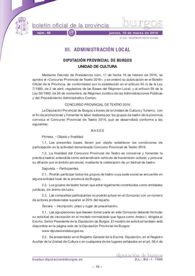 boletín oficial de la provincia – 16 – C.V.E.: BOPBUR-2016-01266 núm. 48 jueves, 10 de marzo de 2016e diputación de burgos...