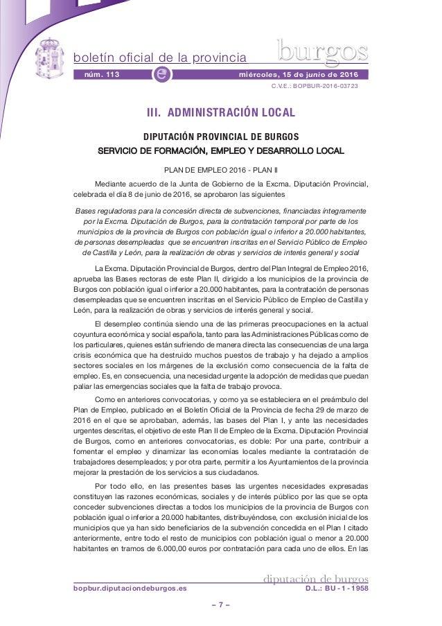 boletín oficial de la provincia – 7 – C.V.E.: BOPBUR-2016-03723 núm. 113 miércoles, 15 de junio de 2016e diputación de bur...