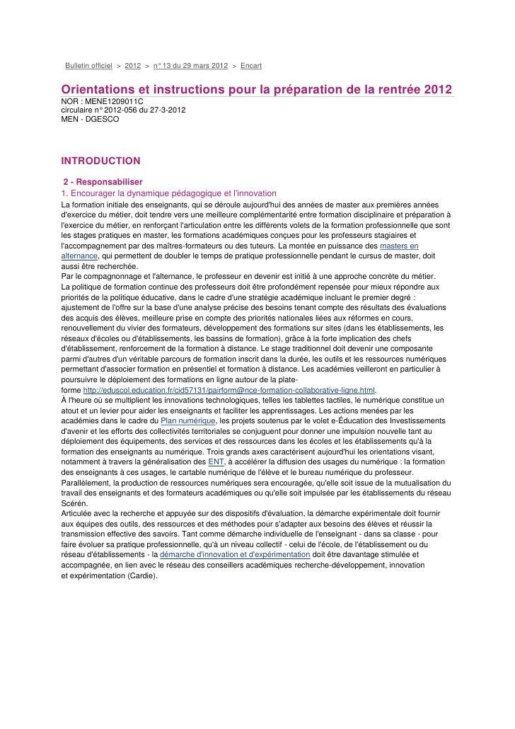 Bulletin officiel > 2012 > n° 13 du 29 mars 2012 > EncartOrientations et instructions pour la préparation de la rentrée 20...