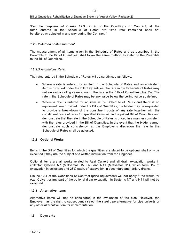Bo q preamble td2 3 jan 20 for Allowances in construction contracts