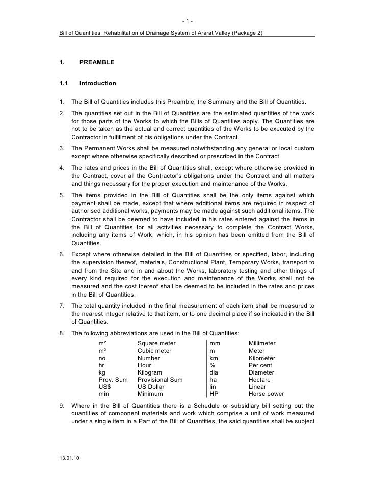 -1-  Bill of Quantities: Rehabilitation of Drainage System of Ararat Valley (Package 2)     1.         PREAMBLE   1.1     ...
