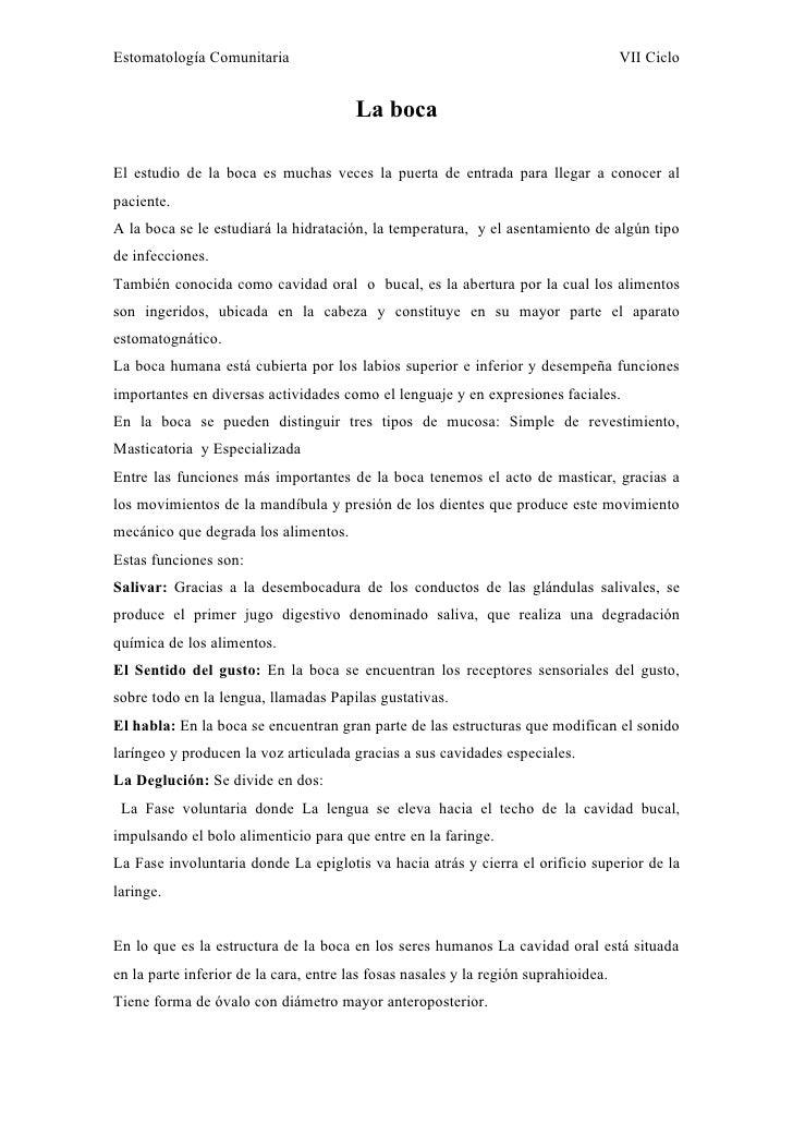 Estomatología Comunitaria                                                            VII Ciclo                            ...