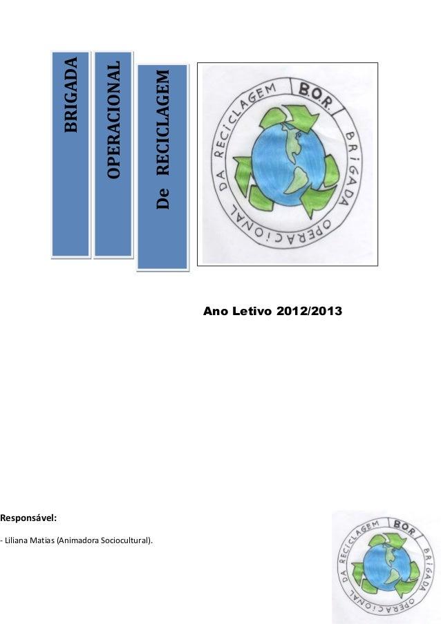 OPERACIONALOPERACIONALDeRECICLAGEMDeRECICLAGEMBRIGADABRIGADAAno Letivo 2012/2013Responsável:- Liliana Matias (Animadora So...