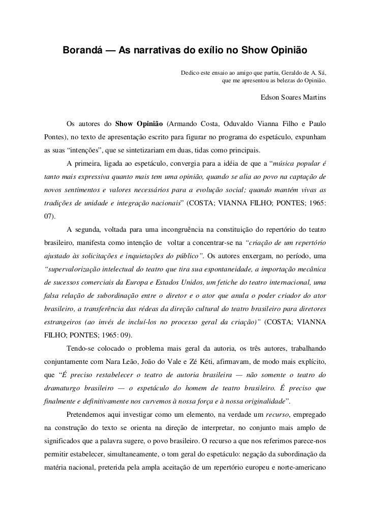 Borandá — As narrativas do exílio no Show Opinião                                                Dedico este ensaio ao ami...