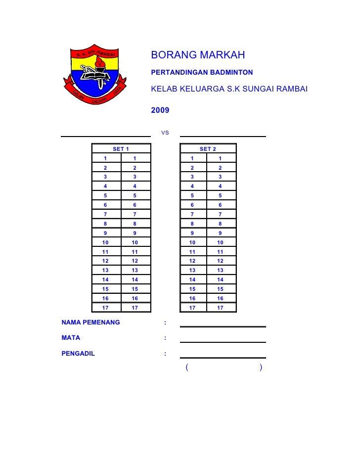 Borang Mata Badminton