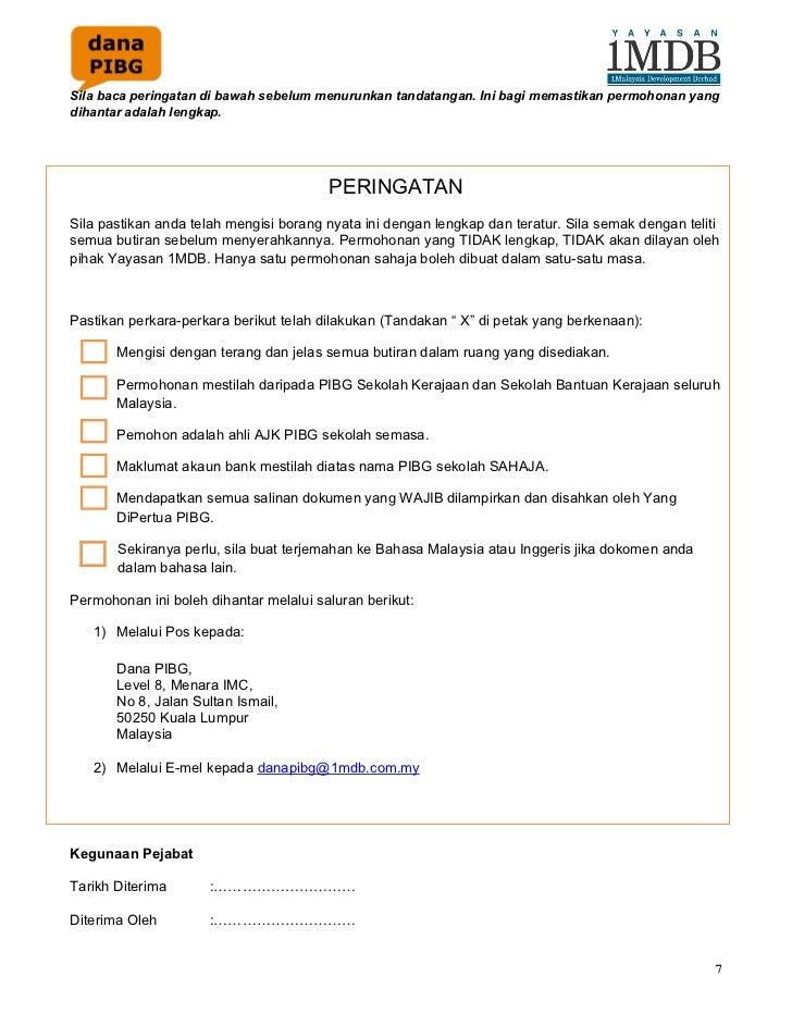 Borang Permohonan Bantuan Sekolah Kerajaan Negeri Selangor 2018