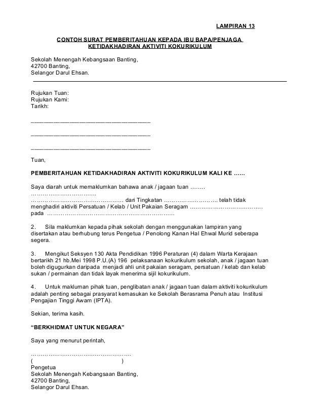 contoh format surat rasmi tidak hadir ke kuliah ndang kerjo