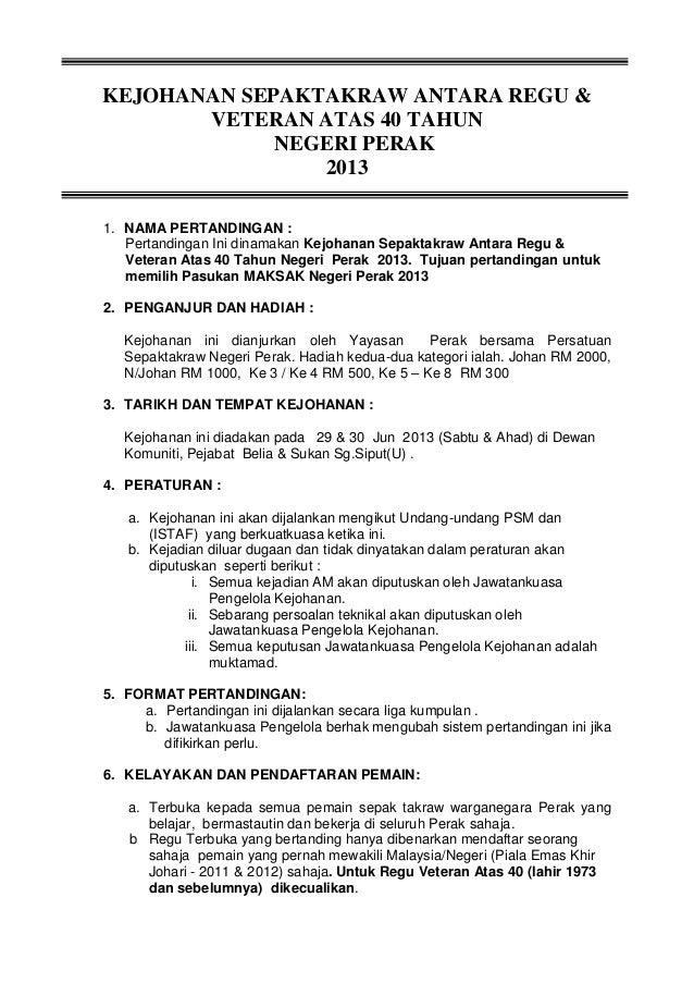 Borang Sepaktakraw Yayasan Perak 2013