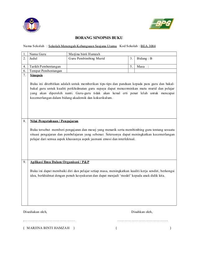 Borang Sinopsis Buku4 Guru Pembimbing Murid
