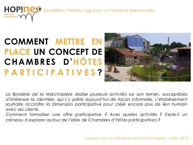 Renforcer le tourisme responsable COMMENT METTRE EN PLACE UN CONCEPT DE CHAMBRES D'HÔTES P A R T I C I P A T I V E S ? Sen...