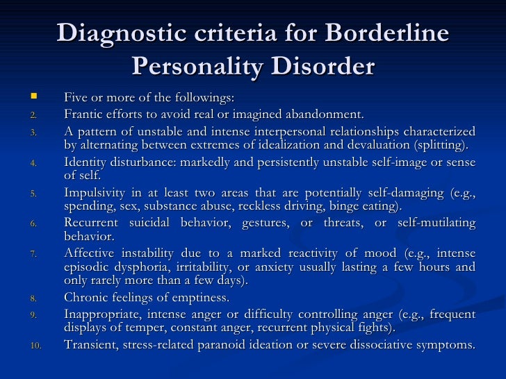 an overview of borderline personality Dsm-iv and dsm-5 criteria for the personality disorders borderline personality disorder borderline personality disorder dsm-iv criteria dsm-5 criteria.