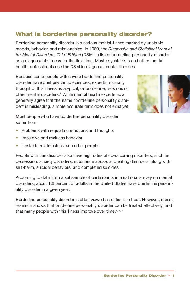 an overview of the borderline personality disorder in medical research Summary of randomised controlled trials of psychotherapy studies for treatment of borderline personality disorder and borderline personality disorder research foundation hs akiskallamotrigine as a promising approach to borderline personality.