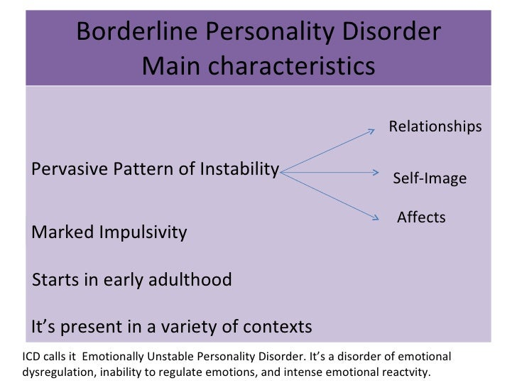 description of borderline personality disorder Recent research findings have contributed to an improved understanding and treatment of borderline personality disorder this disorder is characterised by severe functional impairments, a high risk of suicide, a negative effect on the course of depressive disorders, extensive use of treatment, and high costs to society.