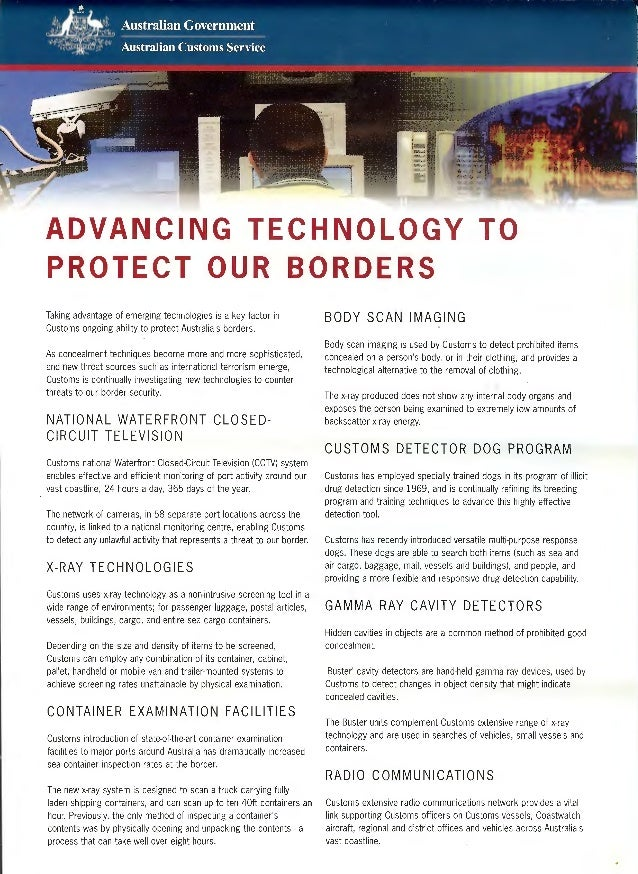 ADVANCING TECHNOLOGY TOPROTECT OUR BORDERSTaking advantage of emerging technologies is a key factor in              BODY S...