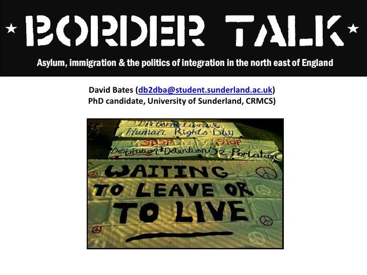 David Bates (db2dba@student.sunderland.ac.uk) <br />PhD candidate, University of Sunderland, CRMCS)<br />
