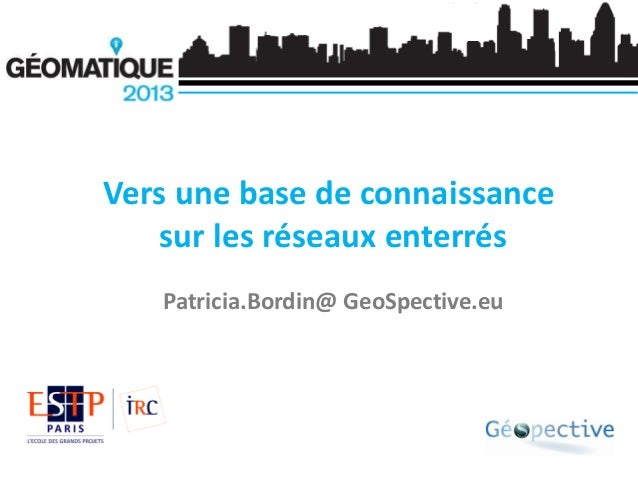 Vers une base de connaissance sur les réseaux enterrés Patricia.Bordin@ GeoSpective.eu
