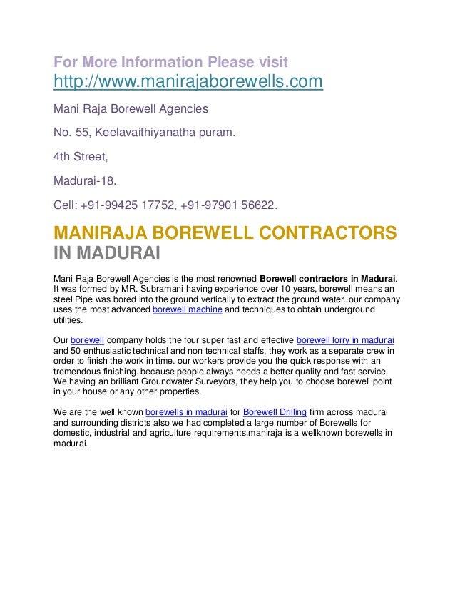 For More Information Please visit http://www.manirajaborewells.com Mani Raja Borewell Agencies No. 55, Keelavaithiyanatha ...