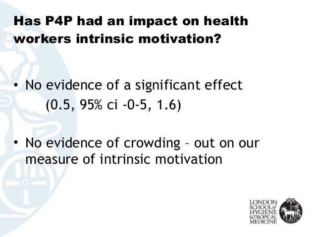 Has P4P had an impact on health workers intrinsic motivation? • No evidence of a significant effect (0.5, 95% ci -0-5, 1.6...