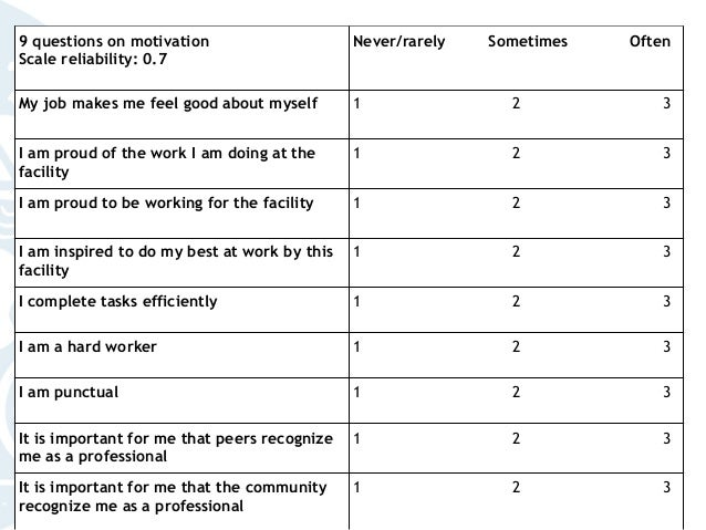 9 questions on motivation Scale reliability: 0.7 Never/rarely Sometimes Often My job makes me feel good about myself 1 2 3...