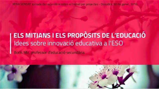 ELS MITJANS I ELS PROPÒSITS DE L'EDUCACIÓ Idees sobre innovació educativa a l'ESO Boris Mir, professor d'educació secundàr...