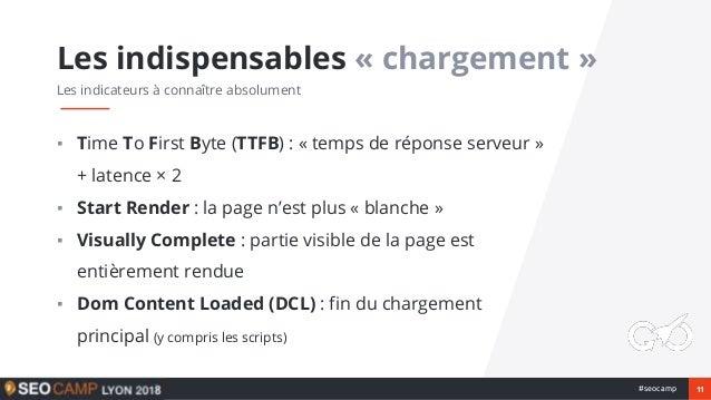 11#seocamp ▪ Time To First Byte (TTFB) : « temps de réponse serveur » + latence × 2 ▪ Start Render : la page n'est plus « ...