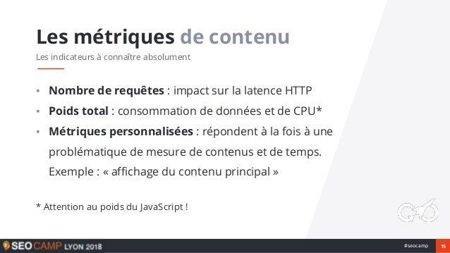 15#seocamp ▪ Nombre de requêtes : impact sur la latence HTTP ▪ Poids total : consommation de données et de CPU* ▪ Métrique...