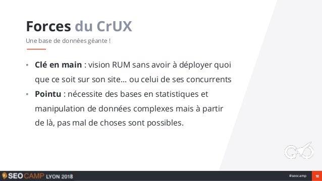 18#seocamp ▪ Clé en main : vision RUM sans avoir à déployer quoi que ce soit sur son site… ou celui de ses concurrents ▪ P...