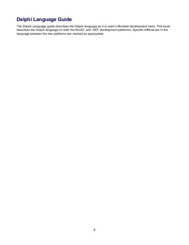 borland delphi delphi programming language guide rh slideshare net Borland Delphi 9 Delphi XE5 Windows 8