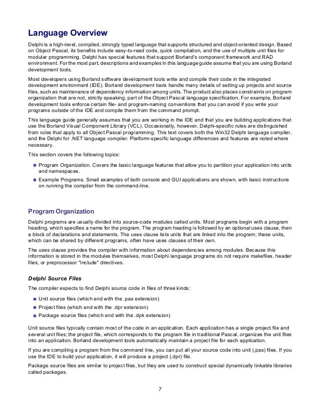 borland delphi delphi programming language guide rh slideshare net Delphi Developer Borland Delphi 9