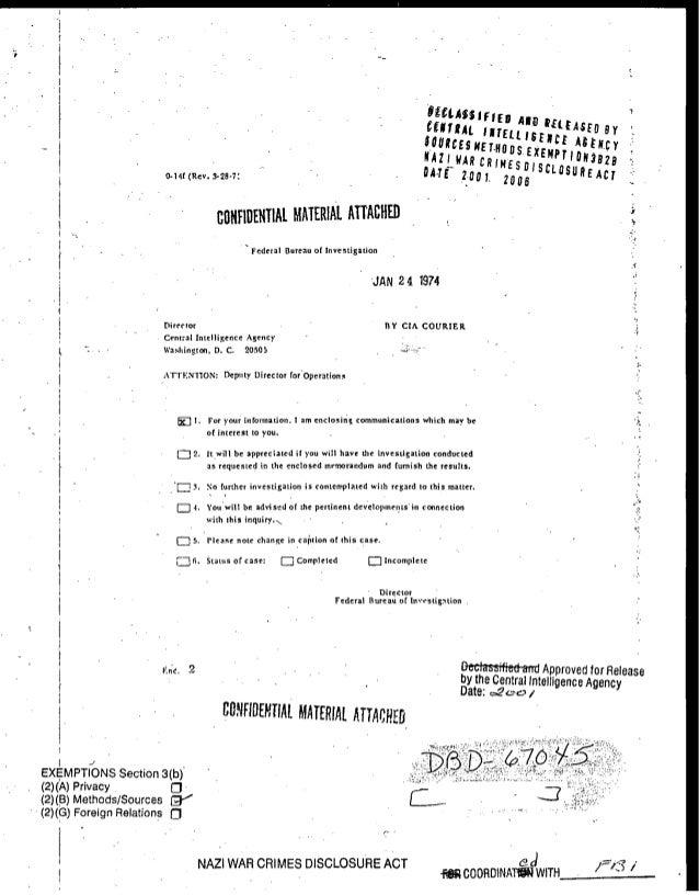 -'T ASED By CIMTIAl I~IELLISFNu ASFNCY _ SOURCES METROOSEXEMPt IANBI '; NAZ WAR CRIMESDISCLOSUR 0-1f (Rev. 3-28-7' -A E T0...