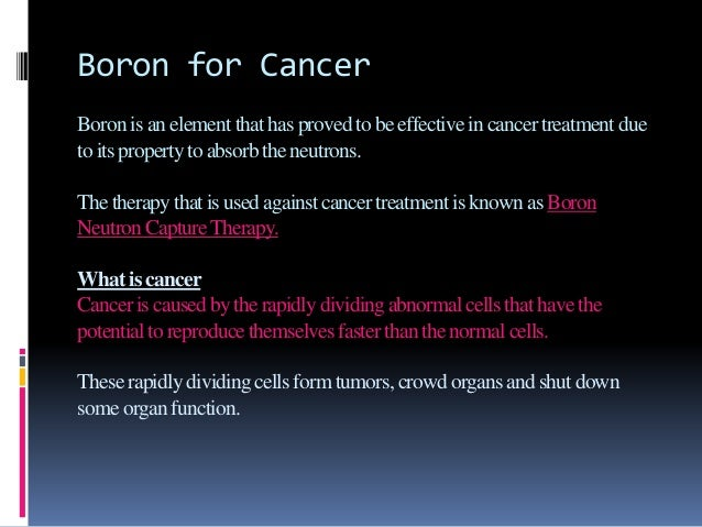 boron chemistry and applications to cancer treatment pdf