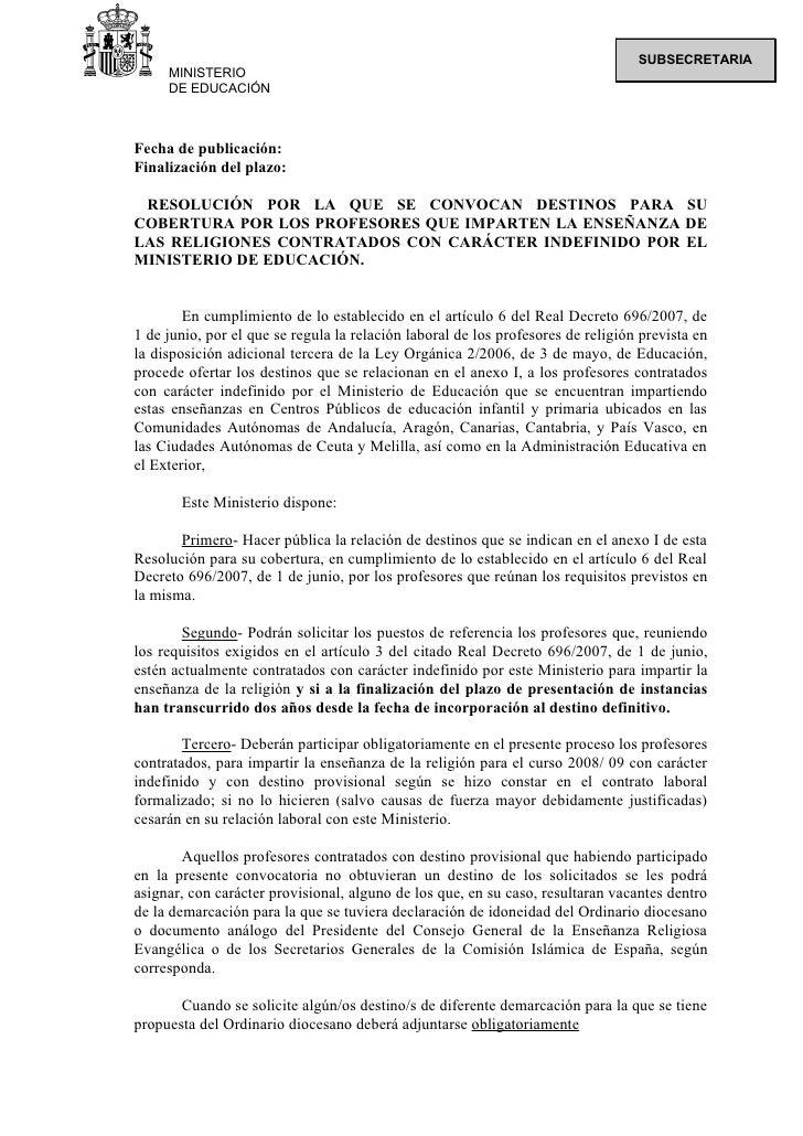 SUBSECRETARIA      MINISTERIO      DE EDUCACIÓN    Fecha de publicación: Finalización del plazo:   RESOLUCIÓN POR LA QUE S...