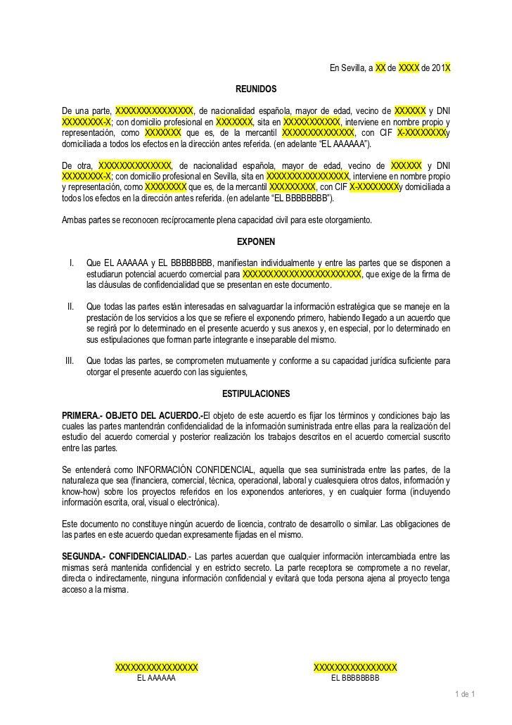 Laf rmula sapiens borrador contrato confidencialidad for Contrato documento
