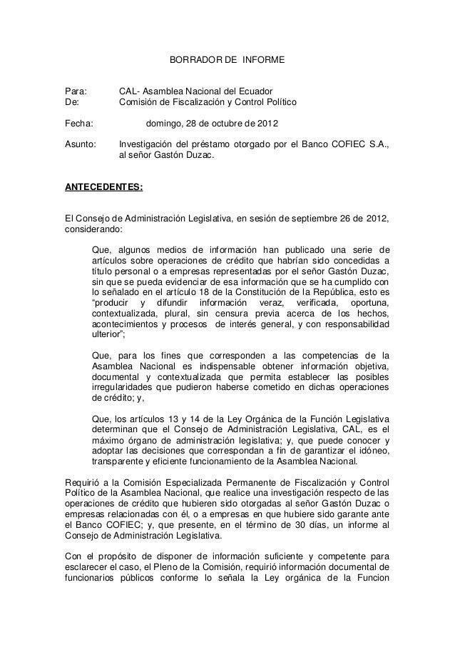BORRADOR DE INFORMEPara:         CAL- Asamblea Nacional del EcuadorDe:           Comisión de Fiscalización y Control Polít...