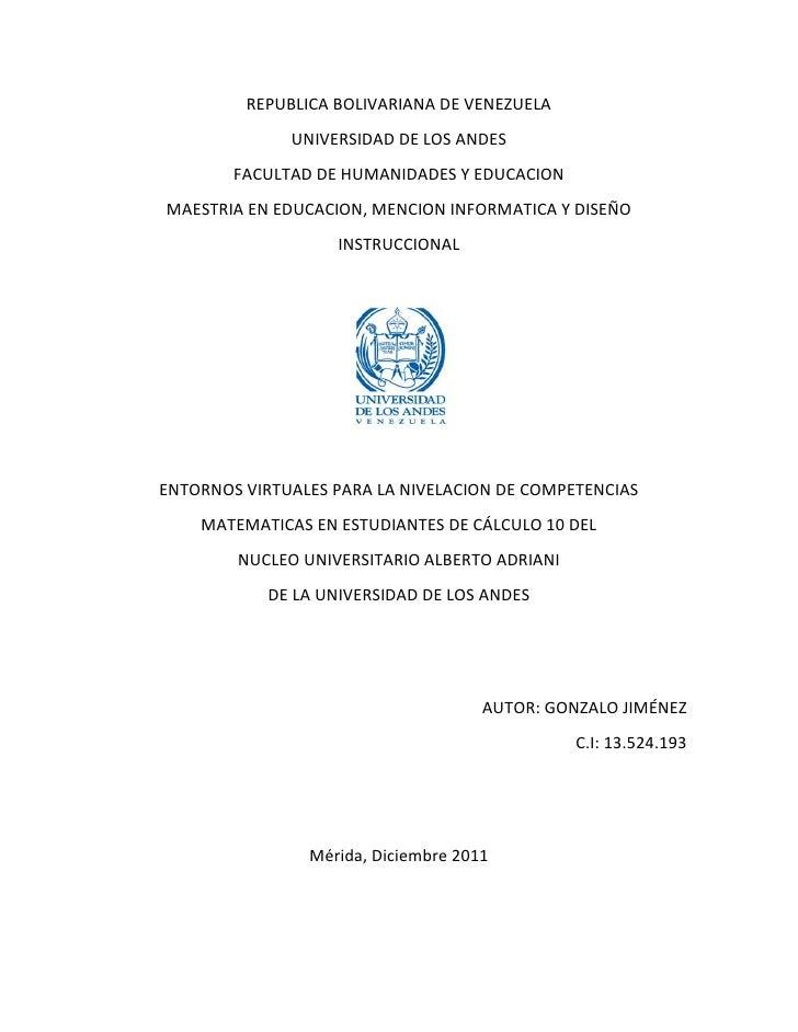 REPUBLICA BOLIVARIANA DE VENEZUELA              UNIVERSIDAD DE LOS ANDES        FACULTAD DE HUMANIDADES Y EDUCACIONMAESTRI...