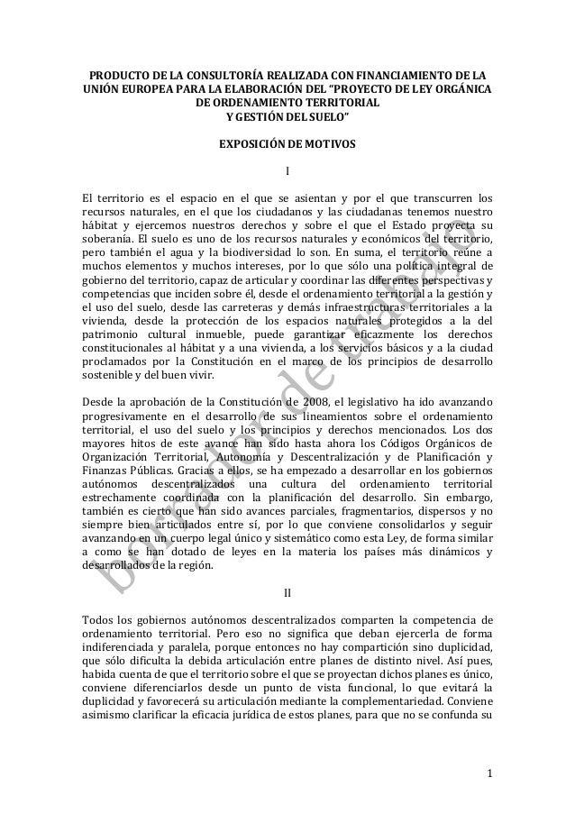 """1 PRODUCTO DE LA CONSULTORÍA REALIZADA CON FINANCIAMIENTO DE LA UNIÓN EUROPEA PARA LA ELABORACIÓN DEL """"PROYECTO DE LEY ORG..."""