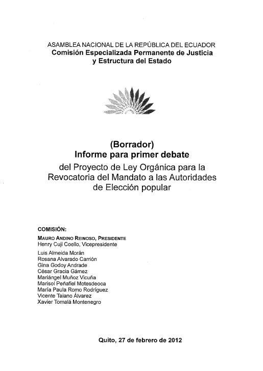 Punto. 4: Borrador informe Ley Orgánica para la Revocatoria del Mandato
