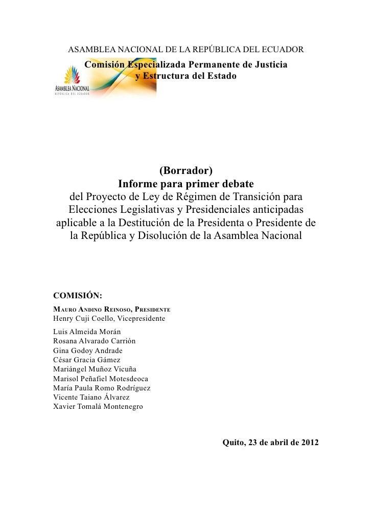 ASAMBLEA NACIONAL DE LA REPÚBLICA DEL ECUADOR        Comisión Especializada Permanente de Justicia                  y Estr...