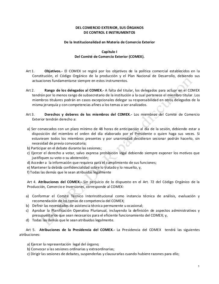 DEL COMERCIO EXTERIOR, SUS ÓRGANOS                                                                     DE CONT...