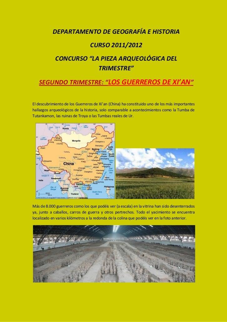 """DEPARTAMENTO DE GEOGRAFÍA E HISTORIA                                 CURSO 2011/2012             CONCURSO """"LA PIEZA ARQUEO..."""