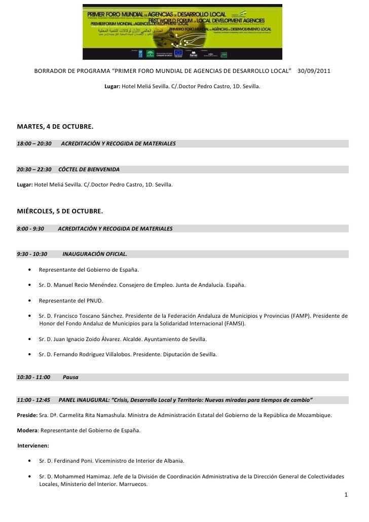 "BORRADOR DE PROGRAMA ""PRIMER FORO MUNDIAL DE AGENCIAS DE DESARROLLO LOCAL"" 30/09/2011                                   Lu..."