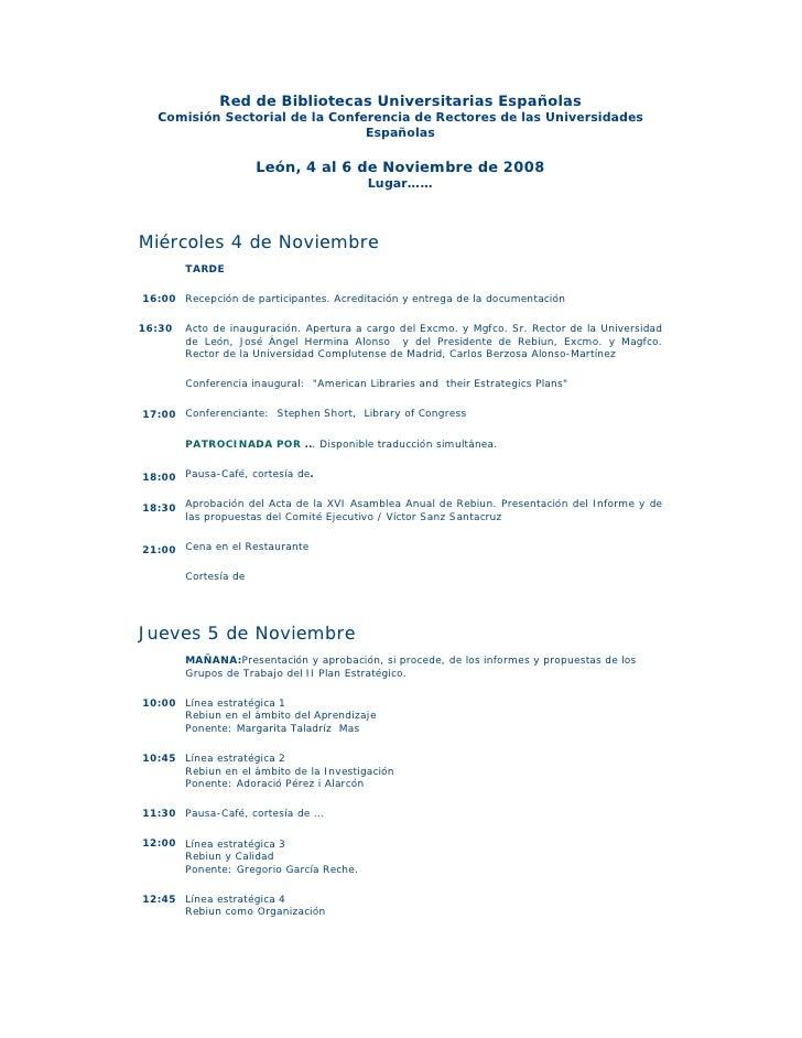 Red de Bibliotecas Universitarias Españolas   Comisión Sectorial de la Conferencia de Rectores de las Universidades       ...