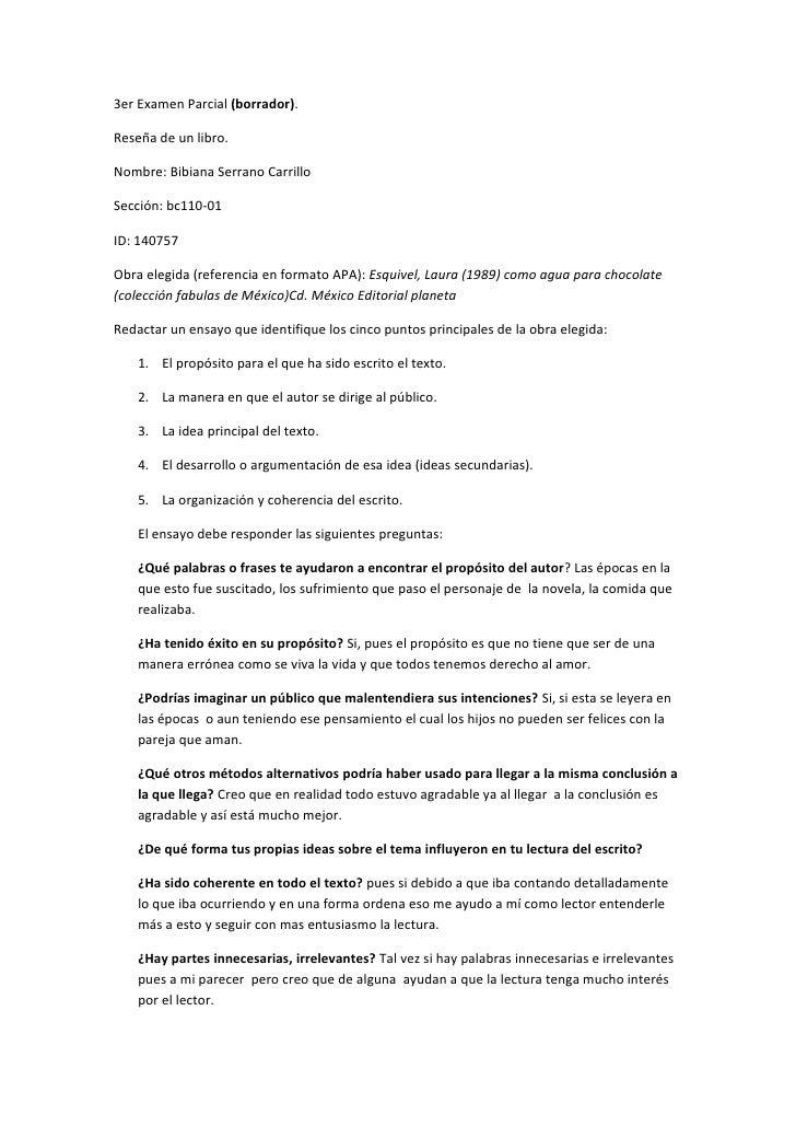 3er Examen Parcial (borrador).  Reseña de un libro.  Nombre: Bibiana Serrano Carrillo  Sección: bc110-01  ID: 140757  Obra...