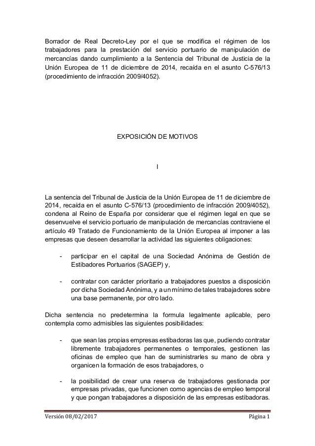 Versión08/02/2017 Página1  Borrador de Real Decreto-Ley por el que se modifica el régimen de los trabajadores para la...