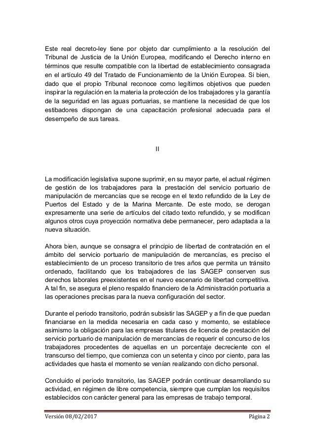 EED - Borrador real decreto ley estiba 08 02 2017 Slide 2