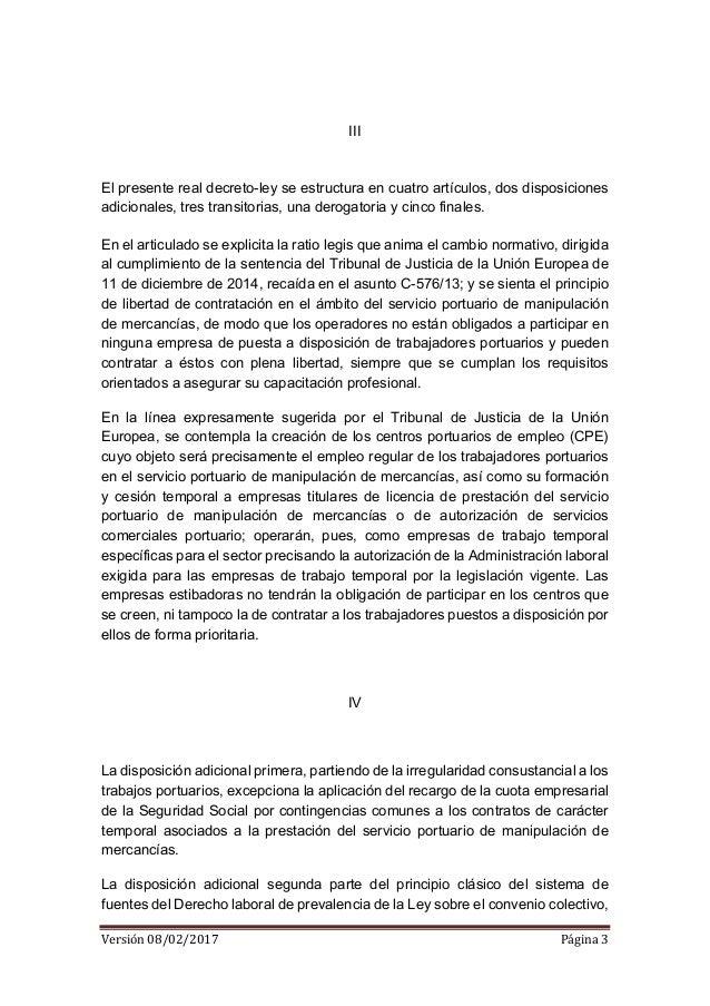 EED - Borrador real decreto ley estiba 08 02 2017 Slide 3