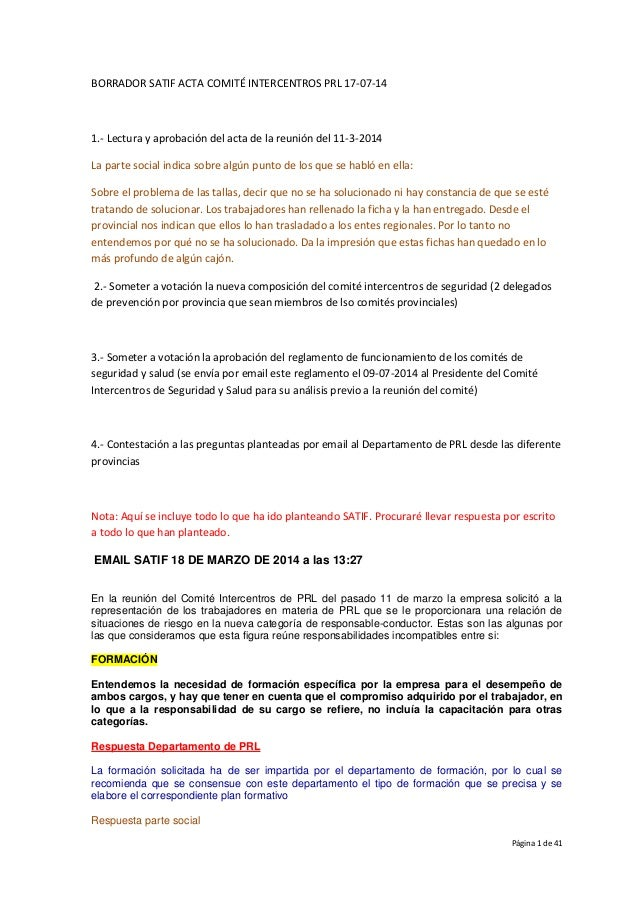 Página 1 de 41 BORRADOR SATIF ACTA COMITÉ INTERCENTROS PRL 17-07-14 1.- Lectura y aprobación del acta de la reunión del 11...