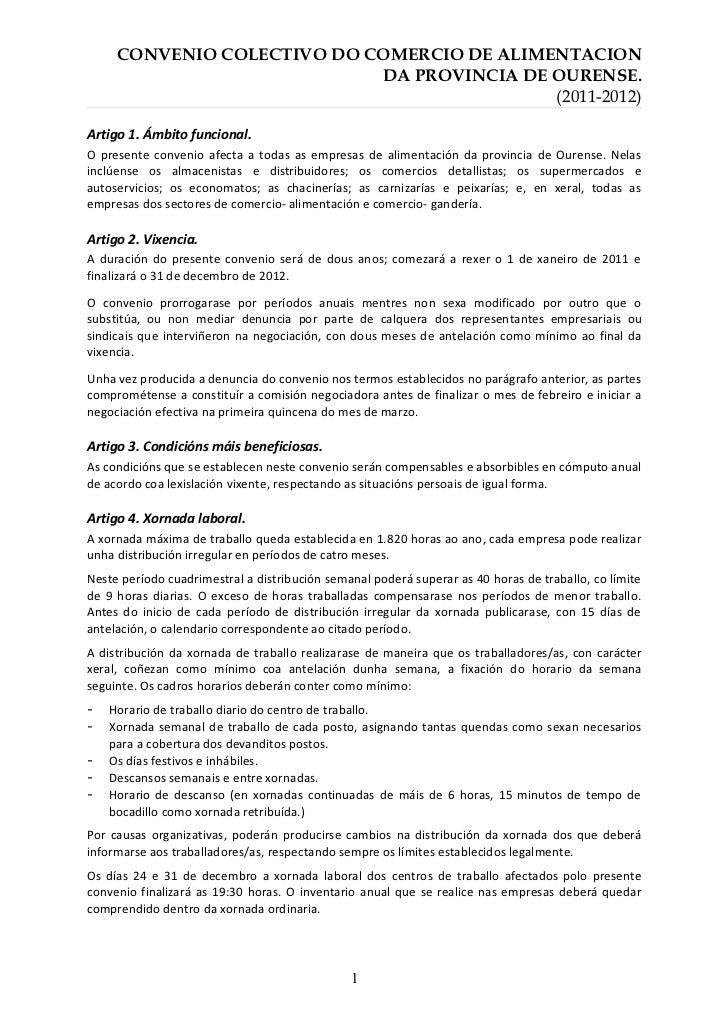 CONVENIO COLECTIVO DO COMERCIO DE ALIMENTACION                            DA PROVINCIA DE OURENSE.                        ...