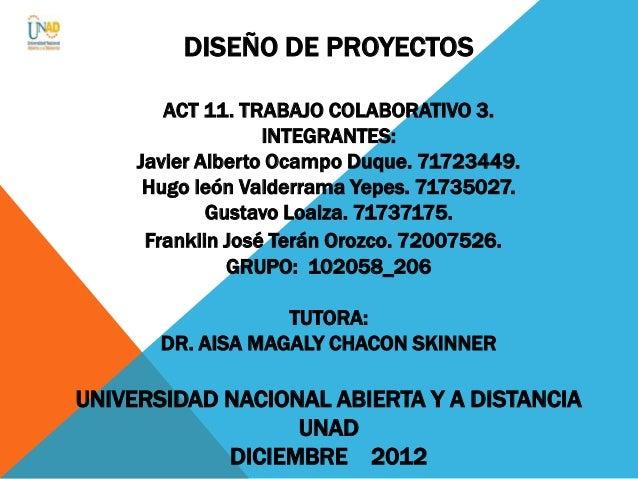 DISEÑO DE PROYECTOS        ACT 11. TRABAJO COLABORATIVO 3.                   INTEGRANTES:     Javier Alberto Ocampo Duque....
